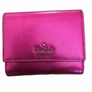 NWOT. Kate Spade Bright metallic fuchsia Wallet